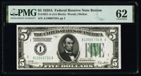 Fr. 1951-A $5 1928A Federal Reserve Note. PMG Uncirculated 62