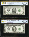 Fr. 2154-H/Fr. 2155-H $100 1934B/1934C Federal Reserve Notes. Changeover Pair. PCGS Banknote Graded Choice Unc 64 PPQ; C...