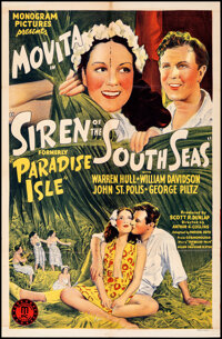 """Paradise Isle (Monogram, R-1941). Folded, Very Fine-. One Sheet (27"""" X 41"""") Reissue Title: Siren of the South..."""