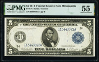 Fr. 878 $5 1914 Federal Reserve Note PMG About Uncirculated 55