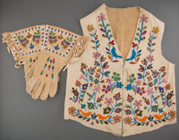 A Sioux Beaded Hide Vest with Matching Gauntlets... (Total: 3)