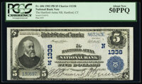 Hartford, CT - $5 1902 Plain Back Fr. 606 The Hartford-Aetna National Bank Ch. # 1338 PCGS About New 50PPQ