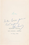 John F. Kennedy: Signed American Airlines Menu Following 1960 DNC