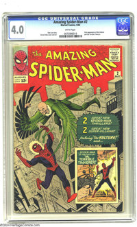 Amazing Spider-Man #2 (Marvel, 1963) CGC VG 4.0 White pages. Steve Ditko art. First appearance of the Vulture. Overstree...