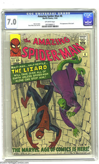 Amazing Spider-Man #6 (Marvel, 1963) CGC FN/VF 7.0 Off-white pages. Steve Ditko art. First appearance of the Lizard. Ove...