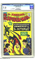 Silver Age (1956-1969):Superhero, Amazing Spider-Man #12 (Marvel, 1964) CGC FN/VF 7.0 Off-white to white pages. Steve Ditko art. Overstreet 2003 FN 6.0 value ...