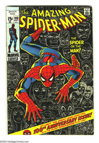 Amazing Spider-Man #100 (Marvel, 1971) Condition: FN-. Anniversary issue. Classic John Romita Sr. cover depicts Spidey's...