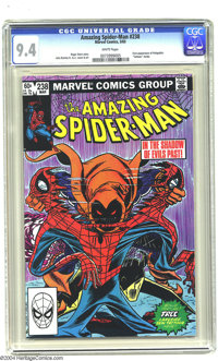"""Amazing Spider-Man #238 (Marvel, 1983) CGC NM 9.4 White pages. Includes """"Tattooz"""" skin decal. First appearance..."""