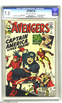 The Avengers #4 (Marvel, 1964) CGC VF- 7.5 Cream to off-white pages. The first Silver Age appearance of Captain America...