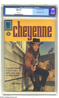 Cheyenne #21 (Dell, 1961) CGC NM+ 9.6 Off-white pages. Clint Walker photo cover. Overstreet 2003 NM 9.4 value = $70