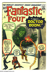 Fantastic Four #5 (Marvel, 1962) Condition: GD/VG. Jack Kirby art. Origin and first appearance of Doctor Doom. Overstree...