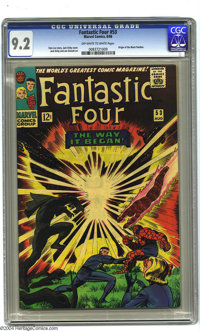 Fantastic Four #53 (Marvel, 1966) CGC NM- 9.2 Off-white to white pages. Jack Kirby art. Origin of the Black Panther. Ove...