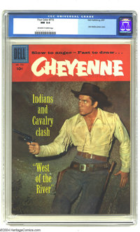 Four Color #772 Cheyenne (Dell, 1957) CGC NM 9.4 Off-white to white pages. Clint Walker photo cover. Overstreet 2003 NM...