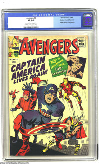 Golden Records Reprints nn Avengers #4 (Golden Records, 1966) CGC VF 8.0 Cream to off-white pages. Not including record...