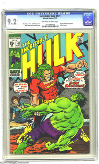 The Incredible Hulk #141 (Marvel, 1971) CGC NM- 9.2 Off-white to white pages. Origin and first appearance of Doc Samson...