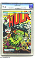 Bronze Age (1970-1979):Superhero, The Incredible Hulk #180 (Marvel, 1974) CGC NM 9.4 White pages. First appearance of Wolverine (cameo). Herb Trimpe art. Over...