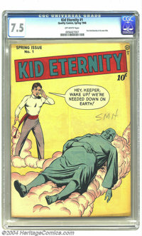 Kid Eternity #1 (Quality, 1946) CGC VF- 7.5 Off-white pages. Pencil writing on cover. Overstreet 2003 VF 8.0 value = $56...