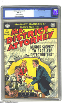 Mr. District Attorney #13 (DC, 1950) CGC NM 9.4 Off-white to white pages. Our favorite DA grills a murder suspect on a c...