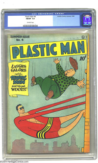 Plastic Man #4 (Quality, 1946) CGC FN/VF 7.0 Off-white pages. Overstreet 2003 FN 6.0 value = $267; VF 8.0 value = $556...