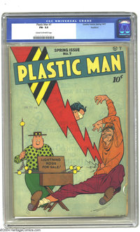 Plastic Man #7 Rockford pedigree (Quality, 1947). CGC FN- 5.5 Cream to off-white pages. Overstreet 2003 FN 6.0 value = $...