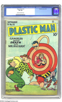 Plastic Man #13 (Quality, 1948) CGC VF 8.0 Cream to off-white pages. Overstreet 2003 VF 8.0 value = $330