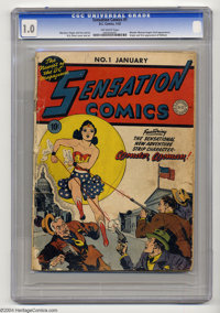 Sensation Comics #1 (DC, 1942) CGC FR 1.0 Off-white pages. Wonder Woman's second overall appearance. H.G. Peter and Shel...