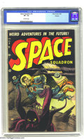 Golden Age (1938-1955):Science Fiction, Space Squadron #5 Okajima pedigree (Atlas, 1952) CGC VF- 7.5Off-white pages. This great octopus-like alien cover manages to...
