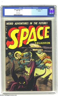 Space Squadron #5 Okajima pedigree (Atlas, 1952) CGC VF- 7.5 Off-white pages. This great octopus-like alien cover manage...