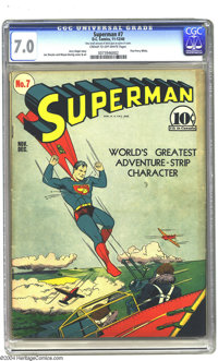 Superman #7 (DC, 1940) CGC FN/VF 7.0 Cream to off-white pages. Great Caesar's Ghost! This could be Perry White's first a...