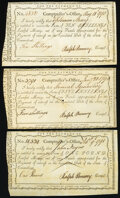State of Connecticut Comptroller's-Office Certificates 1790-91 Very Fine. ... (Total: 3 notes)