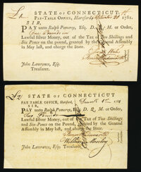 State of Connecticut Trio of Pay-Table Office Certificates 1781 Very Fine-Extremely Fine. ... (Total: 3 notes)