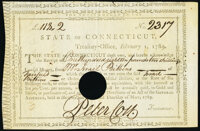 State of Connecticut Treasury Office Feb. 1, 1789 £118.2s Signed by Peter Colt Very Fine