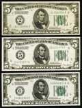 Fr. 1950-B; E; F $5 1928 Federal Reserve Notes. Very Fine-Extremely Fine (2); About Uncirculated. ... (Total: 3 notes)