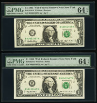 Fr. 1920-B $1 1993 Federal Reserve Note. PMG Choice Uncirculated 64 EPQ; Fr. 1923-B $1 1995 Web Federal Reserve Notes. T...