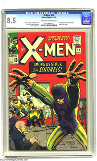 X-Men #14 (Marvel, 1965) CGC VF+ 8.5 Off-white to white pages. Jack Kirby art. First appearance of the Sentinels. Overst...