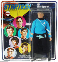 """Star Trek Mr. Spock 8"""" Figure (Mego, 1974). Vinyl figure of our favorite Vulcan, with cloth costume and plastic Pha..."""