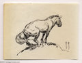 Original Comic Art:Sketches, Frank Frazetta - Sketch of a Squatting Horse (undated). A lively study of horse anatomy, and also the play of light and shad...