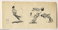 Original Comic Art:Sketches, Frank Frazetta - Original Sketch of a Gunfight (undated). Action-packed pen and ink drawing, with three figures. The art pap...