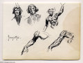Original Comic Art:Sketches, Frank Frazetta - Original Sketch Studies of a Figure's Head and Arm (undated). This figure looks a bit like everyone's favor...