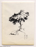 Original Comic Art:Sketches, Frank Frazetta - Original Sketch of a Tree (undated). A tasty study of light and shadow on a tree growing on a rock. The art...