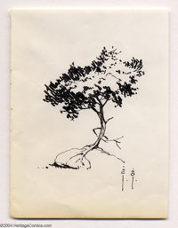 Frank Frazetta - Original Sketch of a Tree (undated). A tasty study of light and shadow on a tree growing on a rock. The...