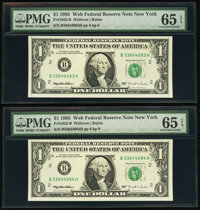 Fr. 1923-B $1 1995 Web Federal Reserve Notes. Four Consecutive Examples. PMG Gem Uncirculated 65 EPQ. ... (Total: 4 note...
