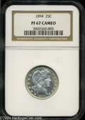 Proof Barber Quarters: , 1894 PR 67 Cameo NGC. ...