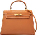 Luxury Accessories:Bags, Hermès Vintage 15cm Gold Courcheval Leather Sellier Kelly...