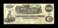 Confederate Notes:1862 Issues, T39 $100 1862. 1863 and 1864 interest paid stamps are on the backof this Crisp Uncirculated $100 that is adorned with s...