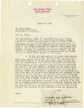 Movie/TV Memorabilia:Autographs and Signed Items, Errol Flynn Signed Contract and Telegrams. A two-pageletter-document on MGM Radio Attractions letterhead dated March 12,19...