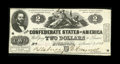 Confederate Notes:1862 Issues, T42 $2 1862. This Third Series $2 has a pre-printing crinkle, alittle bit of ink erosion at top center, and light circulati...
