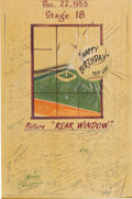"Movie/TV Memorabilia:Autographs and Signed Items, Alfred Hitchcock and Others Signed ""Rear Window"" Drawing. Dated December 22, 1953, and presented to one Pep Lee as a birthda..."