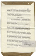 Movie/TV Memorabilia:Autographs and Signed Items, Charles Laughton Signed Contract, Leading to Mutiny on the Bounty.A 23-page standard contract between Laughton and MGM, da...