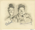 "Movie/TV Memorabilia:Original Art, Stan Laurel and Oliver Hardy Autographed Sketch. This 11"" x 9.5""pencil sketch of the esteemed comedy duo has been signed by..."